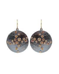 Annie Fensterstock Multicolor Large Neutral-sapphire And Diamond Luna Earrings