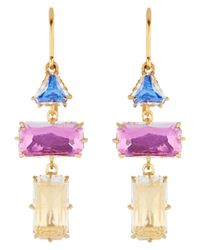 Larkspur & Hawk - Multicolor Caterina Baguette 3 Drop Earrings - Lyst