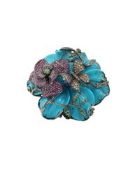 Wendy Yue Blue Carved Turquoise Flower Ring