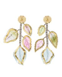 Irene Neuwirth - Metallic Carved Tourmaline And Aquamarine Earrings - Lyst