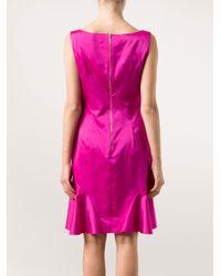 Nina Ricci Pink Rose Shoulder Flared Dress