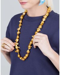 Boaz Kashi - Metallic Baroque Golden Pearl Necklace - Lyst