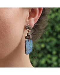 Federica Rettore White Afrodite Earrings With Boulder Opal