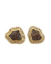 Todd Reed Metallic Raw Yellow Gold Diamond Stud Earrings