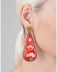 Silvia Furmanovich - Marquetry Red Floral Earrings - Lyst