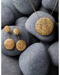 Yossi Harari Metallic Large Round Lace Pendant Necklace