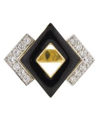 David Webb Metallic Double Diamond And Black Enamel Ring
