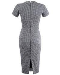 Victoria Beckham Gray Houndstooth T-shirt Dress