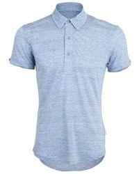 Orlebar Brown Blue Sebastian Linen Polo for men