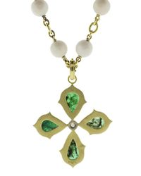 Sylva & Cie - Green Emerald Cross Pendant - Lyst