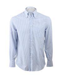 Brunello Cucinelli Blue Striped Button Down Shirt for men
