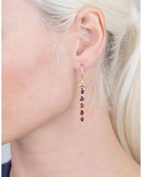 Boaz Kashi - Metallic Pink Tourmaline And Diamond Drop Earrings - Lyst