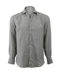 Brunello Cucinelli | Gray Stripe Spread Collar Shirt for Men | Lyst