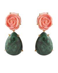 Bounkit Green Orange Sea Shell Flower & Malachite Earrings