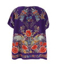 Roberto Cavalli - Purple Garden Print Top - Lyst