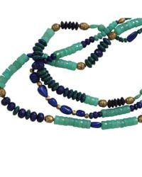 Royal Nomad Jewelry Blue Two Strand Chrysoprase, Lapis, And Azurite Bead Necklace for men