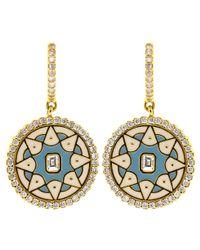 Buddha Mama Metallic Enamel And Diamond Coin Huggie Earrings