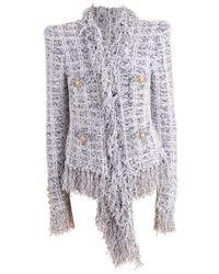 Balmain Multicolor Draped Hem Fringe Tweed Jacket
