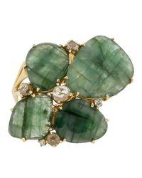 Federica Rettore Green Flat Emerald Ring