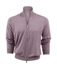 Brunello Cucinelli Purple Fine Gauge Zip Cardigan for men