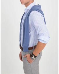 Brunello Cucinelli Blue V-neck Fine Gauge Sweater for men