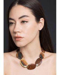 Yossi Harari Brown Tiger Eye Agate Necklace
