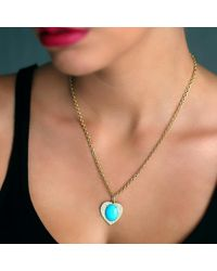 Irene Neuwirth | Blue Turquoise And Diamond Pave Heart Charm | Lyst