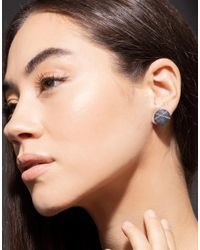 Todd Reed Metallic White Diamond X Stud Earrings