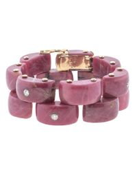 Federica Rettore Multicolor Panthere Rhodonite And Diamond Bracelet