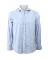Brunello Cucinelli Blue Striped Spread Collar Shirt for men