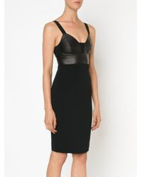 Narciso Rodriguez Black Nappa Bustier Fitted Dress