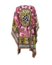 Versace Multicolor Belted Caftan Top