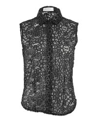 A.L.C. Black Sleeveless Button Front Lace Etta Blouse