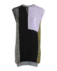 3.1 Phillip Lim Multicolor Ribbed Trim Sequin Shift Dress
