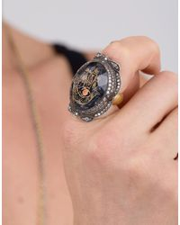 Sevan Biçakci Metallic Carved Hamsa Ring In Amethyst