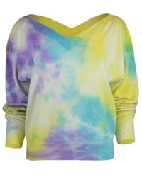 MSGM Purple V-neck Tie Dye Sweater