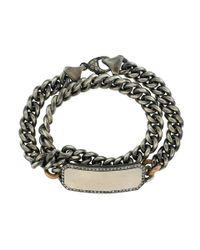 Sylva & Cie - Gray Grey Diamond Id Plate Wrap Bracelet for Men - Lyst