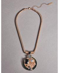 Marks & Spencer - Metallic Diamanté Bloom Shield Pendant Necklace - Lyst