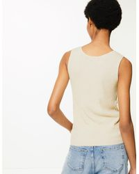 Marks & Spencer Natural Linen Blend Textured V-neck Knitted Tops Oatmeal