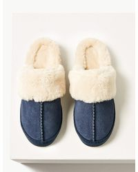 Marks & Spencer Blue Suede Mule Slippers