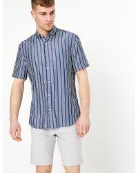 Marks & Spencer Blue Striped New Regular Fit Oxford Shirt for men