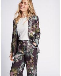 Marks & Spencer - Purple Floral Print Single Breasted Blazer - Lyst
