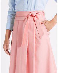 Marks & Spencer Multicolor Cotton Rich Belted Full Midi Skirt