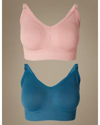 Marks & Spencer - Blue 2 Pack Maternity Seamfree Padded Full Cup Nursing Bras - Lyst