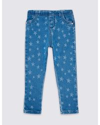 Marks & Spencer Blue Star Print Jeggings (3 Months - 7 Years)