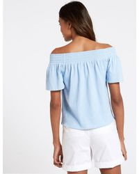 Marks & Spencer Blue Cotton Rich Short Sleeve Bardot Top
