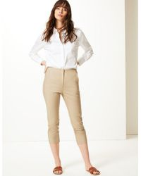 Marks & Spencer Brown Mia Slim Cropped Trousers Coffee