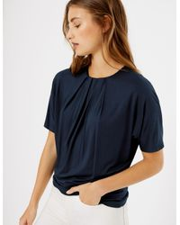 Marks & Spencer Blue Pleat Neck Short Sleeve Top Navy