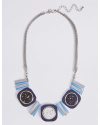 Marks & Spencer - Blue Square Mix Necklace - Lyst