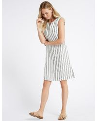 fbfb7065dba Marks   Spencer Pure Linen Striped Tunic Dress in White - Lyst